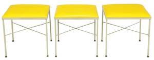 Set Three Upholstered Thonet Stools