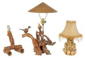 Three American Folk Art Lamps