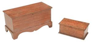 Two American Grain Painted Lift Top Chests