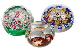 Three Murano Style Paperweights