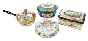 Four Porcelain Jewelry Boxes