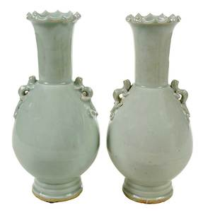 Pair Chinese Yingqing Glazed Vases