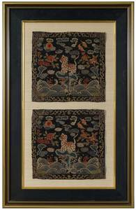 Pair Framed Chinese Embroidered Rank Badges