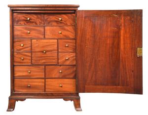 Rare Pennsylvania Federal Inlaid Mahogany Spice Cabinet