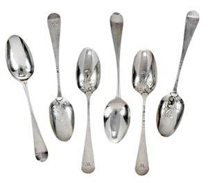 Set of Six Hester Bateman English Silver Spoons