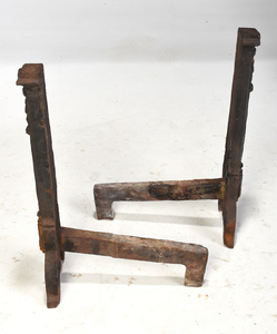 Large Pair Early Wrought Iron Basket Top Andirons