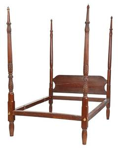 American Federal Carved Mahogany Four Poster Bed