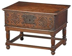 Early English Carved Oak Bible Box on Stand