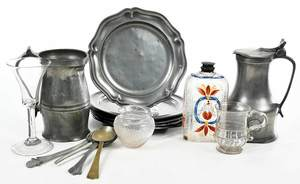 20 Pieces Assorted Glassware and Pewter Flatware