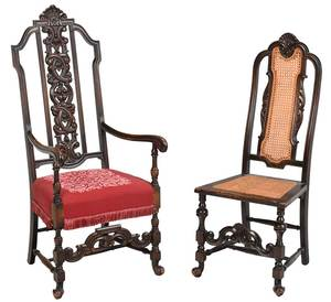 Two William and Mary Style Carved Turned Chairs