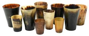 Ten British Carved Horn Cups