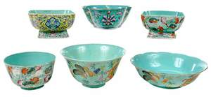 15 Turquoise Famille Rose Assorted Bowls