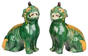 Pair Green Glazed Foo Lions