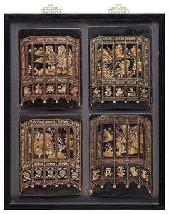 Four Chinese Mounted Lacquer Plaques
