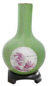 Yellow Green Chinese Bottle Vase