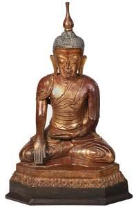 Burmese Gilt and Lacquer Papier Mache Buddha