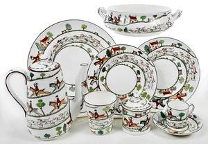 88 Piece Crown Staffordshire China, The Hunt