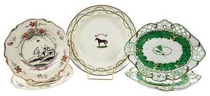 Five Handpainted and Transfer Decorated Plates