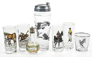 Glassware with Equestrian and Hunting Scenes