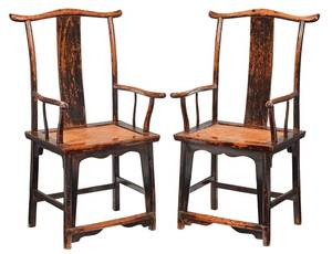 Pair of Antique Chinese Lacquered Elm Armchairs