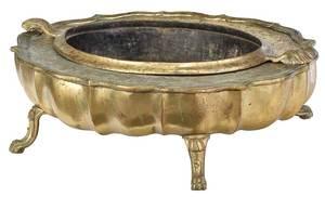 Baroque Brass Cartouche Form Basin