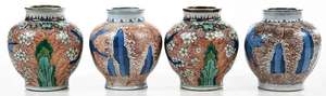Four Chinese Dragon Horse Vases