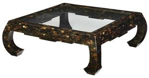 Modern Horn Veneered and Glass Top Coffee Table