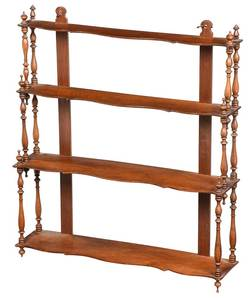 Victorian Figured Walnut Hanging Whatnot Shelf