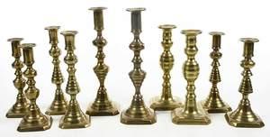 Ten Brass Candlesticks