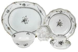 Six Grisaille Chinese Export Table Items