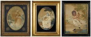 Three Framed British Silk Embroideries