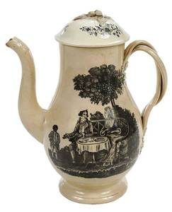 Creamware Decorated Tea Party Coffee Pot