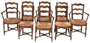 Set of Country French Rush Seat Dining Chairs