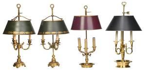 Four Bronze Bouillette Lamps, Metal Shades