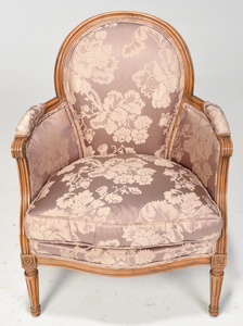Louis XVI Style Beech Wood Upholstered Bergere