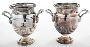Pair of Old Sheffield Silver Plate Wine Coolers