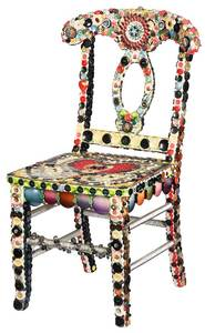 Folk Art Decorated Button Chair