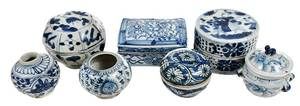 Seven Small Blue and White Asian Vessels