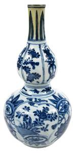 Early Blue and White Chinese Double Gourd Vase