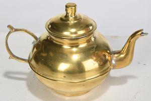 Three Brass Samovars with Tray and Teapot