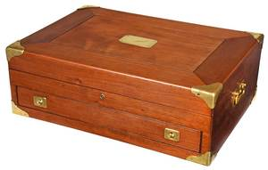 Mahogany Brass Mounted Silver Chest