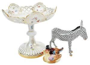 Three Porcelain Decorative Table Items