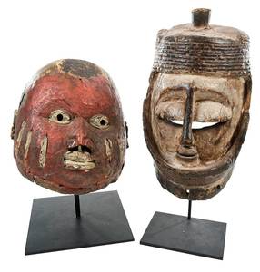 Two Carved and Polychrome African Masks