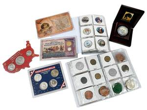 Security Box with Medals, Tokens, Foreign Coins