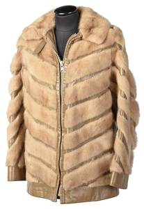 Leather and Mink Jacket with Chevron Pattern
