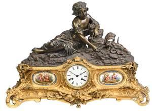 Gilt Bronze Mantle Clock With Reclining Figure