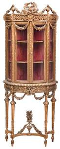 Louis XVI Style Carved and Gilt Vitrine