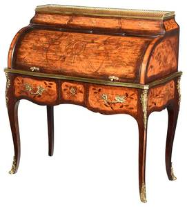 Louis XV Style Marquetry Inlaid Cylinder Desk