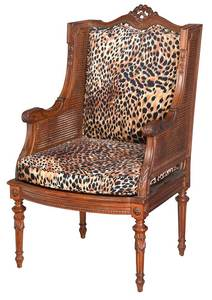 Louis XVI Style Carved and Caned Armchair