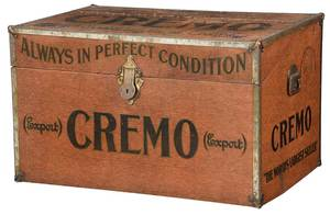 Large Scale Vintage Cremo Painted Tole Humidor